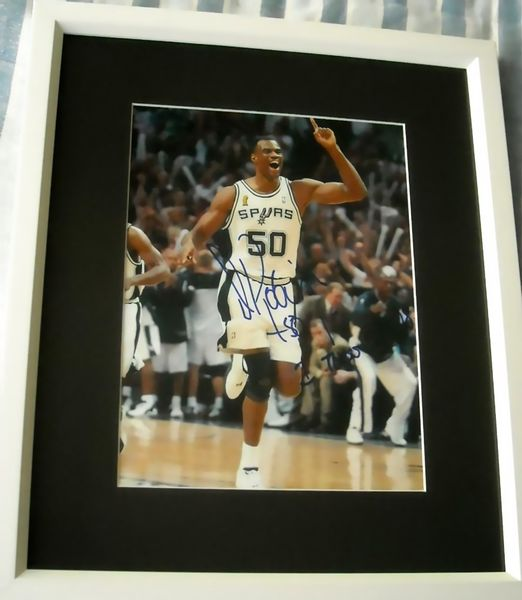David Robinson autographed San Antonio Spurs 2003 NBA Championship 8x10 photo matted & framed