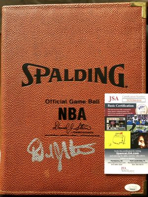 David Stern autographed NBA Spalding Official Game Ball portfolio (JSA)