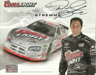 David Stremme autographed 2007 Coors Light 8x10 photo card
