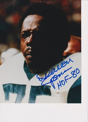 Deacon Jones autographed Los Angeles Rams 8x10 photo inscribed HOF 80