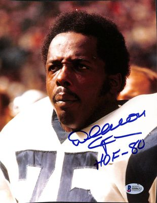 Deacon Jones autographed Los Angeles Rams 8x10 photo inscribed HOF 80 (BAS authenticated)