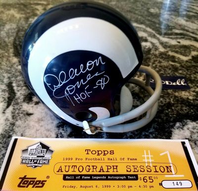 Deacon Jones autographed Los Angeles Rams throwback mini helmet inscribed HOF-80