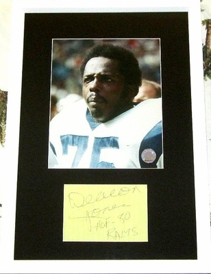 Deacon Jones autograph matted and framed with Los Angeles Rams 8x10 photo inscribed HOF-80 RAMS