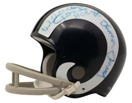 Deacon Jones Lamar Lundy Merlin Olsen Rosey Grier (Fearsome Foursome) autographed Los Angeles Rams mini helmet (Beckett Authenticated)