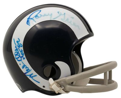 Deacon Jones Lamar Lundy Merlin Olsen Rosey Grier (Fearsome Foursome) autographed Los Angeles Rams mini helmet (BAS authenticated)