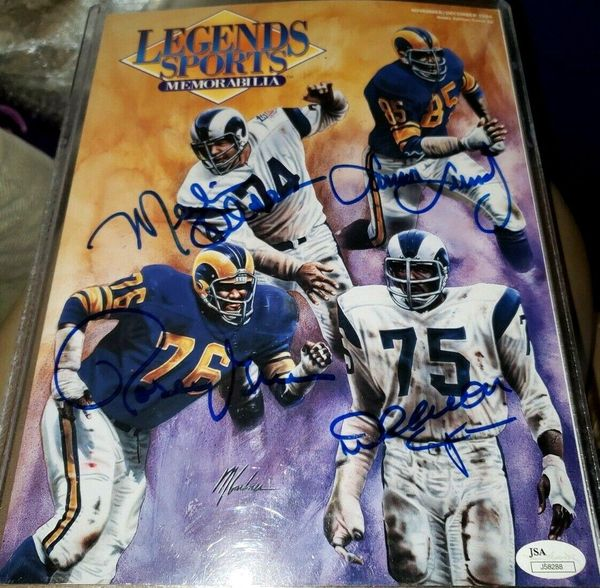 Deacon Jones Merlin Olsen Lamar Lundy Rosey Grier autographed Los Angeles Rams Fearsome Foursome 1994 Legends magazine (JSA)