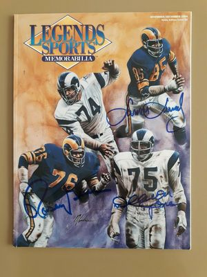 Deacon Jones Rosey Grier Lamar Lundy autographed Los Angeles Rams Fearsome Foursome 1994 Legends magazine