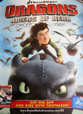 Dean DeBlois and Drew Struzan autographed Dragons Riders of Berk 2013 Comic-Con 18x24 poster