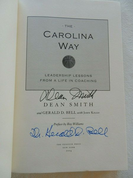 Dean Smith autographed The Carolina Way hardcover book