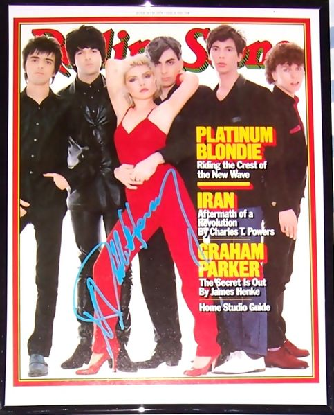 Debbie Harry autographed Blondie Rolling Stone magazine cover framed