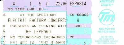 Def Leppard 1992 Philadelphia Spectrum concert ticket stub MINT