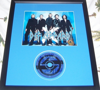 Def Leppard complete group autographed Retro Active CD framed with 8x10 photo Rick Allen Phil Collen Joe Elliott Rick Savage