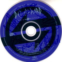 Def Leppard complete group autographed Retro Active CD matted & framed with 8x10 photo