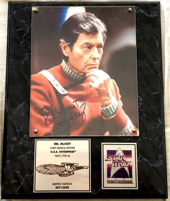 DeForest Kelley autographed Star Trek 25th Anniversary Dr. McCoy 8x10 movie photo in plaque (#287/2500)