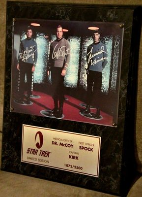 DeForest Kelley Leonard Nimoy William Shatner autographed Star Trek Original Series 8x10 photo in plaque ltd. edit. 2500