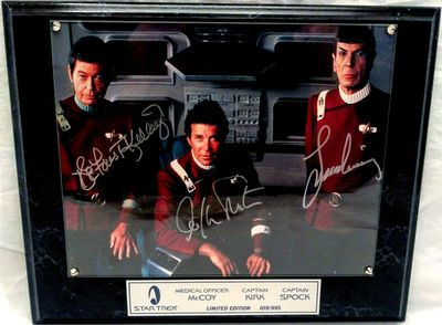 DeForest Kelley Leonard Nimoy William Shatner autographed Star Trek The Undiscovered Country 8x10 movie photo in plaque #109/995