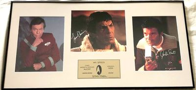 DeForest Kelley Leonard Nimoy William Shatner autographed Star Trek 8x10 movie photos matted and framed #203/250