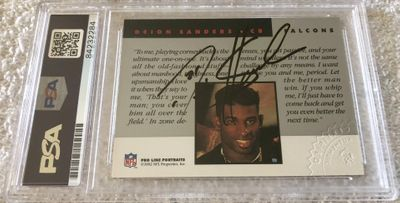 Deion Sanders certified autograph Atlanta Falcons 1992 Pro Line Portraits card (PSA/DNA slabbed)