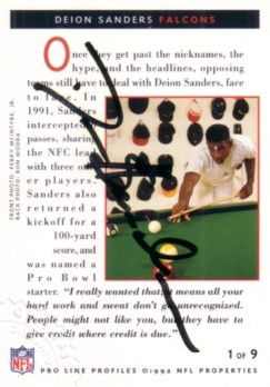 Deion Sanders certified autograph Atlanta Falcons 1992 Pro Line card