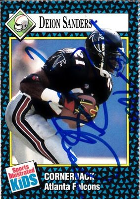 Deion Sanders autographed Atlanta Falcons 1992 Sports Illustrated for Kids card (personalized To Theo)