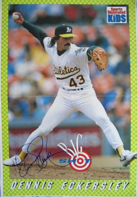 Dennis Eckersley autographed Oakland A's Sports Illustrated for Kids mini poster