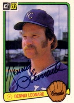 Dennis Leonard autographed Kansas City Royals 1983 Donruss card