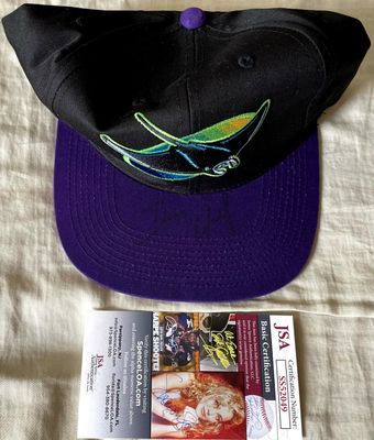Dennis Quaid (The Rookie) autographed Tampa Bay Devil Rays cap or hat JSA