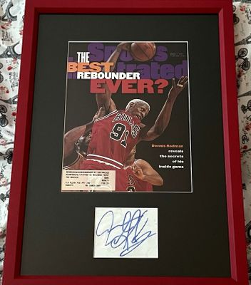 Dennis Rodman autograph matted and framed with Chicago Bulls 1996 Sports Illustrated cover