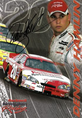 Denny Hamlin autographed Rockwell Automation Racing 2007 NASCAR 7x10 photo card