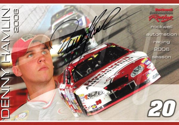 Denny Hamlin autographed Rockwell Automation Racing 2006 NASCAR 7x10 photo card