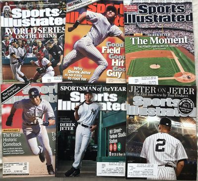 Derek Jeter New York Yankees lot of 8 different Sports Illustrated issues 1997 through 2014