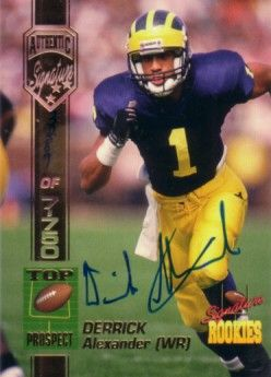 Derrick Alexander Michigan Wolverines certified autograph 1994 Signature Rookies card