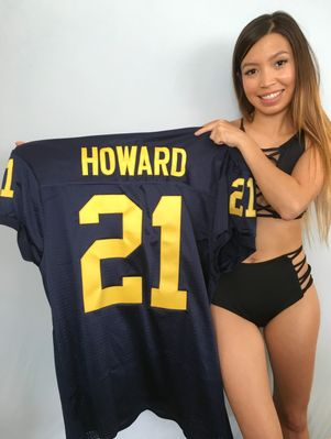 Desmond Howard Michigan Wolverines blue stitched #21 game cut football jersey NEW