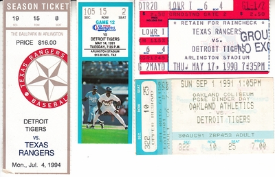 Detroit Tigers lot of 4 vintage 1990s road game ticket stubs