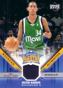 Devin Harris Upper Deck 2005 All-Star Weekend Rookie Challenge game worn warm-up card