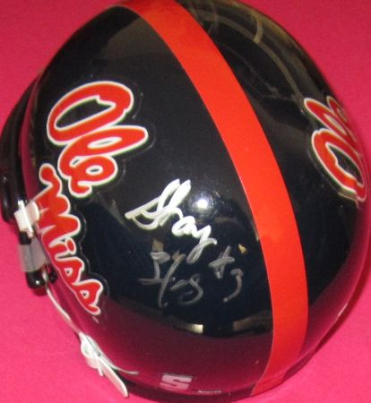 Dexter McCluster and Shay Hodge autographed Ole Miss Rebels mini helmet