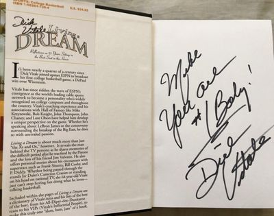 Dick Vitale autographed Living a Dream hardcover book inscribed to Mike