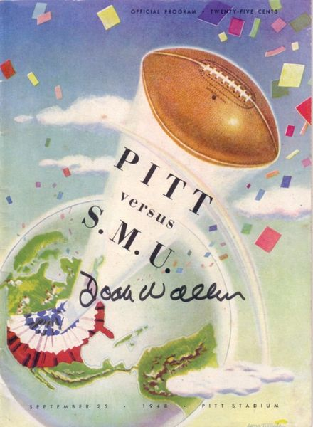Doak Walker autographed 1948 Pitt vs SMU football game program