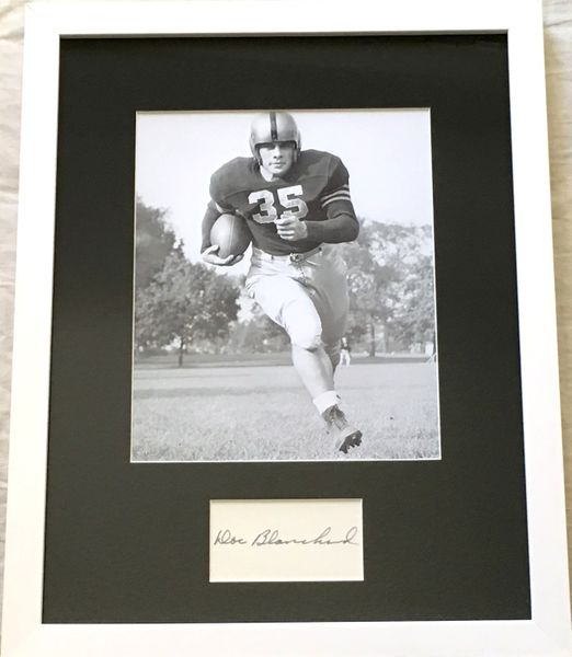 Doc Blanchard autographed index card matted and framed with Army 8x10 photo