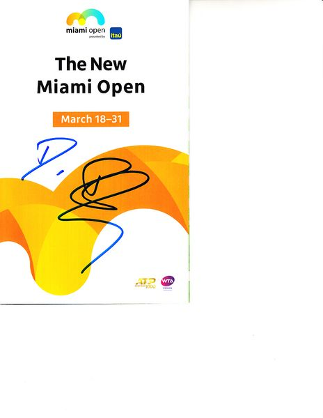 Dominic Inglot autographed 2019 Miami Open tennis tournament map and program