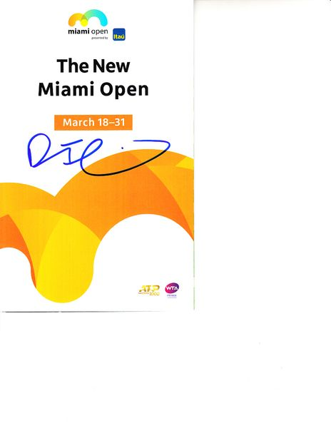 Dominic Thiem autographed 2019 Miami Open tennis tournament map and program