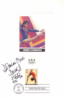 Dominique Dawes autographed gymnastics 1996 Olympic USPS First Day of Issue souvenir card sheet (Magnificent 7)