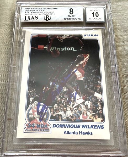 Dominique Wilkins autographed Atlanta Hawks 1984 Star All-Star Game Rookie Card graded BGS 8 BAS slabbed