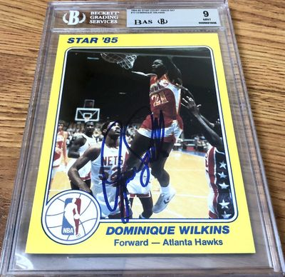 Dominique Wilkins autographed Atlanta Hawks 1985 Star Court Kings 5x7 jumbo Rookie Card Beckett Authenticated BGS graded 9 MINT