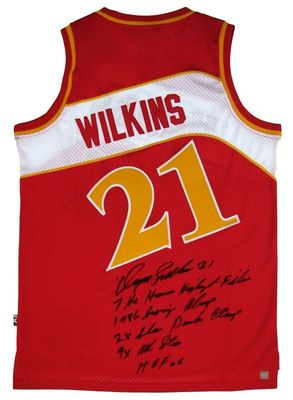 Dominique Wilkins autographed Atlanta Hawks Adidas red stitched throwback jersey with 5 inscriptions