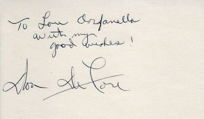 Don DeFore autographed index card