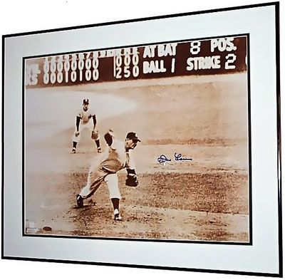 Don Larsen autographed Yankees 1956 World Series Perfect Game 16x20 poster size photo matted and framed (Steiner)