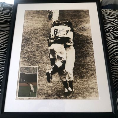 Don Larsen and Yogi Berra autographed Yankees 1956 World Series Perfect Game 16x20 poster size photo matted and framed