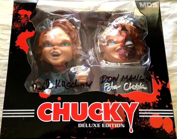 Don Mancini and David Kirschner autographed Child's Play Chucky Mezco Designer Series action figure