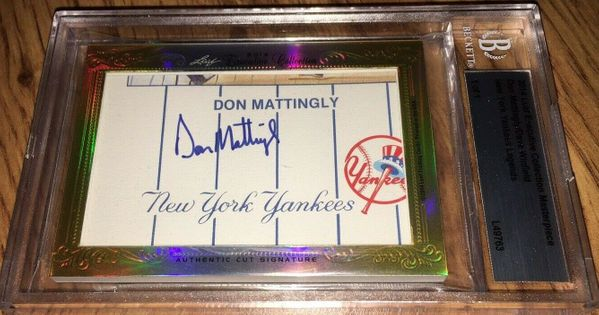Don Mattingly and Dave Winfield 2014 Leaf Masterpiece Cut Signature certified autograph card 1/1 JSA